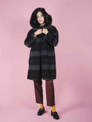 cappotto scozzese con cappuccio vintage