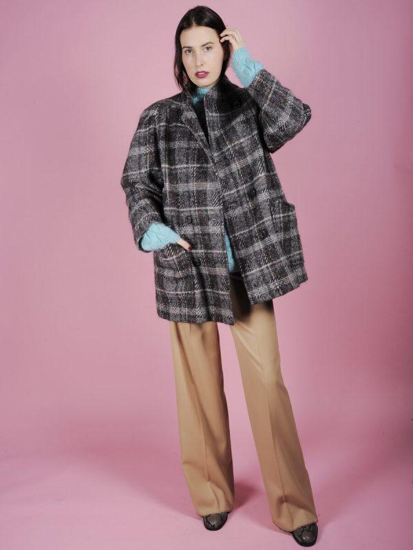 cappotto tartan grigio lurex argento