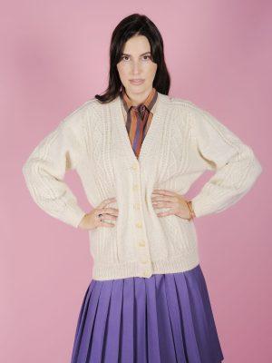 cardigan bianco lana anni 70