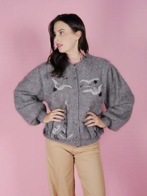 cardigan lana grigio uccelli