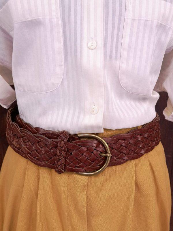 cintura intrecciata pelle