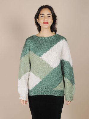 maglione lana.verde vintage