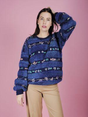 maglione over righe fiori