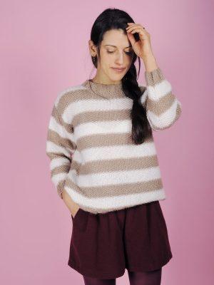 maglione righe bianco beige 1