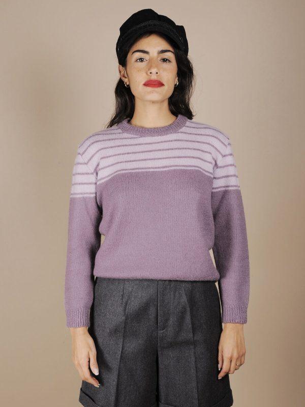 maglione righe violetto