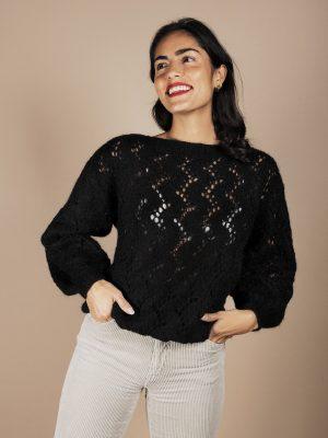 maglione traforato nero