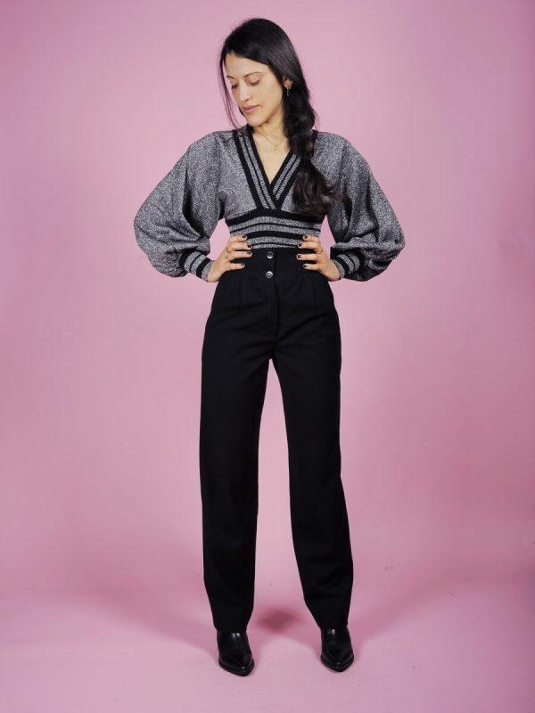 pantalone nero banda laterale