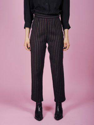 pantaloni righe lana
