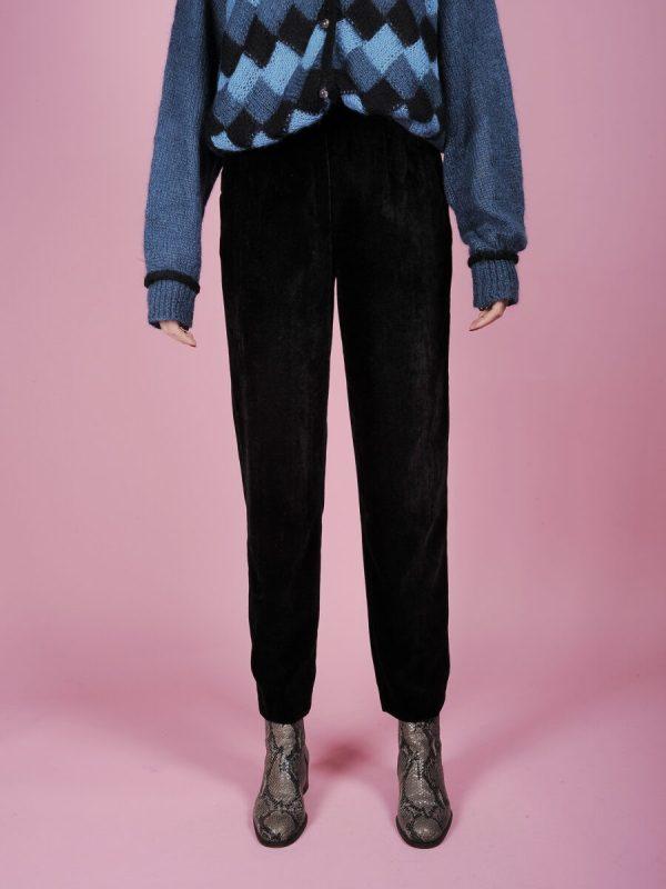 pantaloni vita alta velluto nero